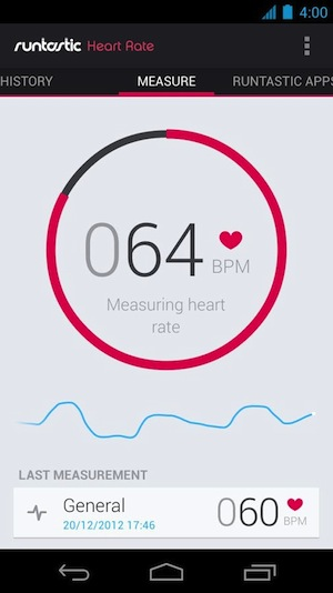 Runtastic Heart Rate's simple interface