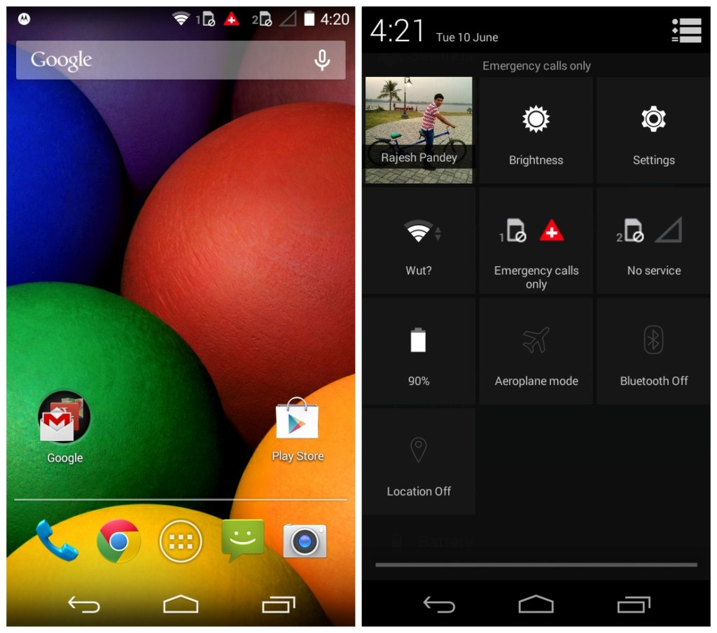 The near stock Android home screen and Quick Settings