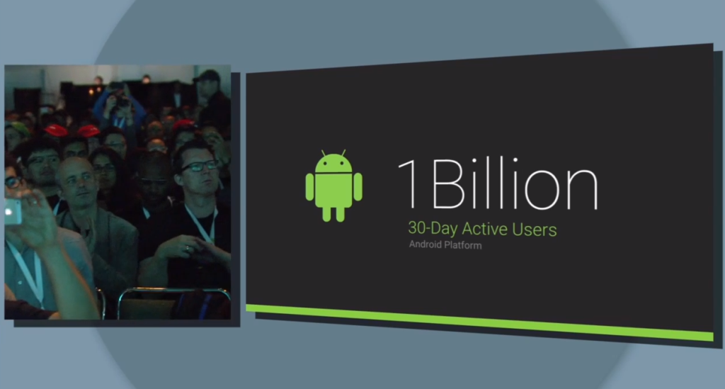 1 billion 30-day active Android users, 93 million selfies taken each day