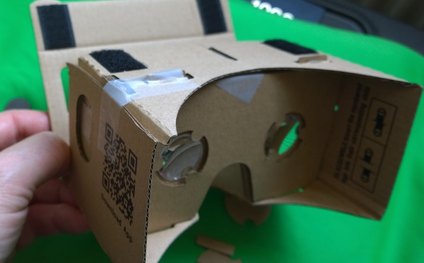 Google Cardboard, made up! it doesn't look much, but strap in a smartphone and some software....