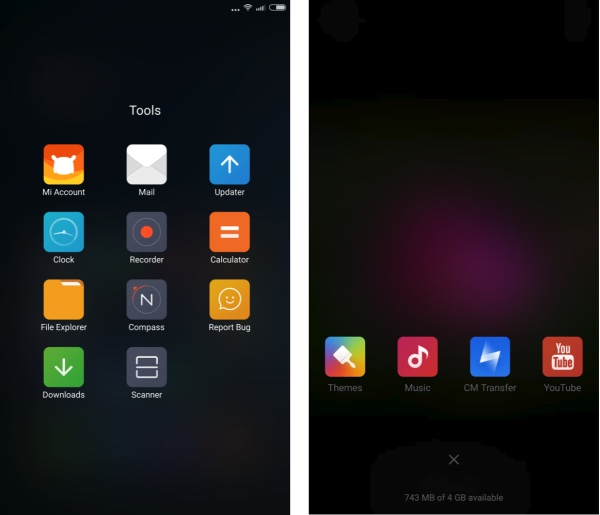 Screenshots from the Xiaomi Mi Note Pro - showing applications in a homescreen folder - remember there's no 'app drawer'; plus a very iOS-esque multitasking carousel...