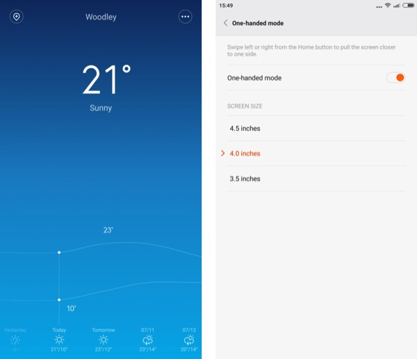 Screenshots from the Xiaomi Mi Note Pro - showing the first party weather application and the customisation for the unique one-handed view...