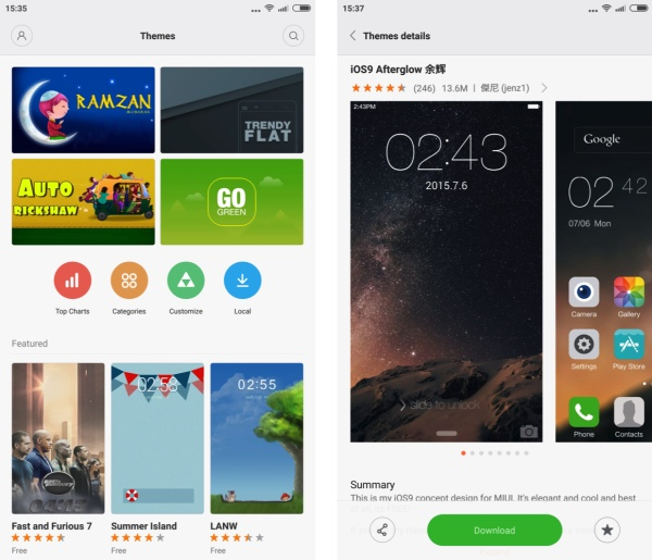 Screenshots from the Xiaomi Mi Note Pro - the theme engine and 'store' are plentifully stocked...