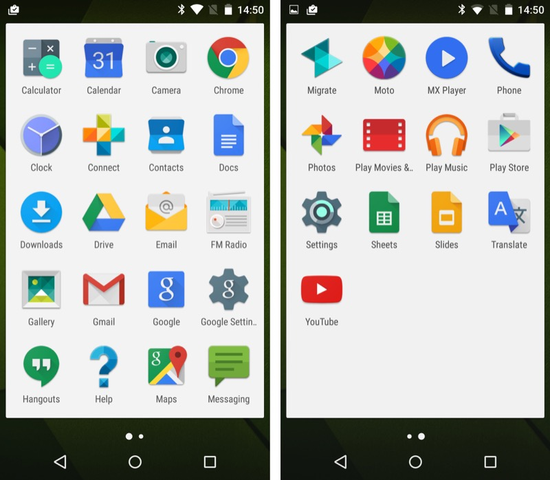 A very Nexus-like/stock set of applications on the Moto X Play