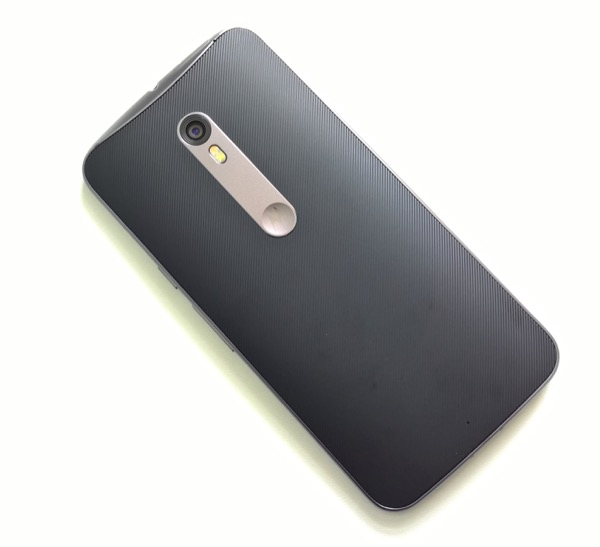 Motorola Moto X Style - rear view, showing the grippy, textured back