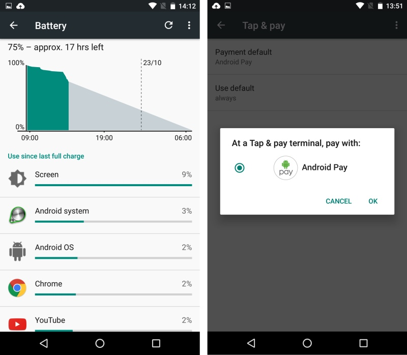 Battery life seems pretty good, it's easy enough to drain on a really hard day, but in normal use it'll give a day and a half on Android 6.0; (right) getting started with Android Pay and the fingerprint sensor...