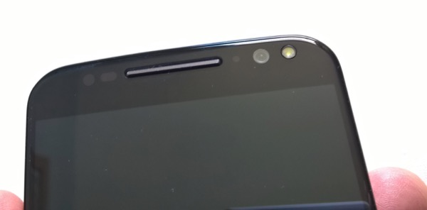 Motorola Moto X Style - top section, showing second stereo speaker and FFC with LED flash