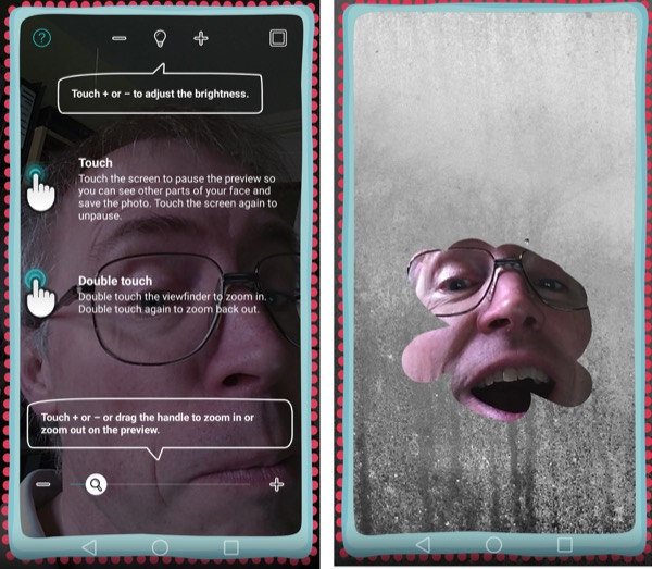 The fun 'Mirror' application, using the front facing camera