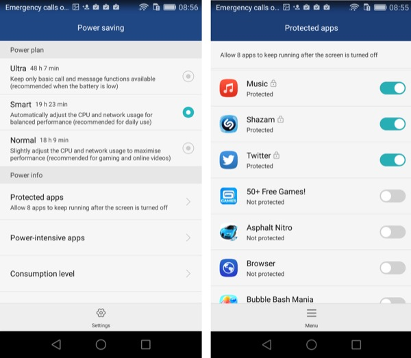 Power saving options and protected apps