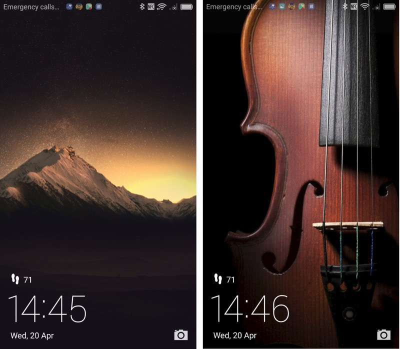 Just two of hundreds of lockscreen images, presented at random every time the lockscreen is brought up....