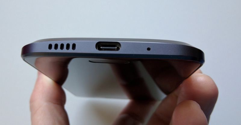 Bottom of the phone, showing mono speaker grille and USB Type C port