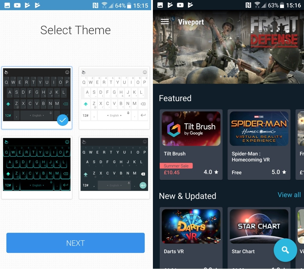 Choosing a theme for the built-in TouchPal keyboard, and (right) browsing VR content in Viveport...