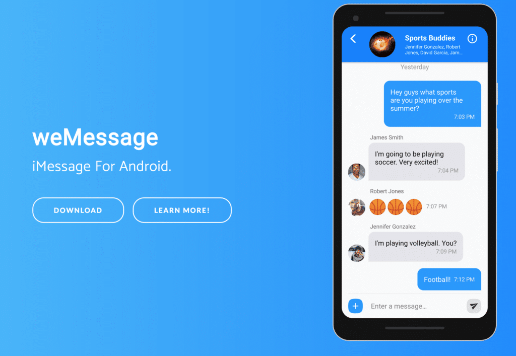 switching from iphone to android imessage wemessage brings imessage to android provided you own a mac 19464