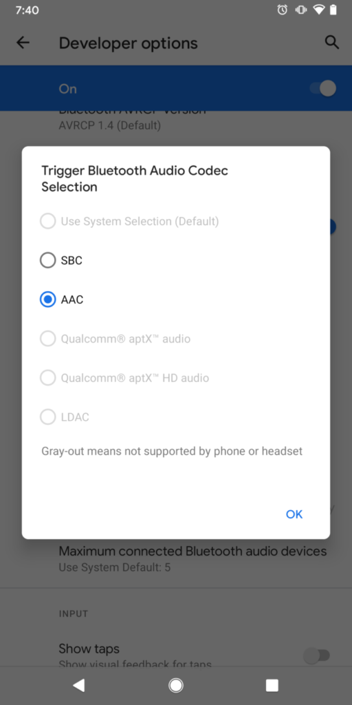 Android 11 Bluetooth Codec